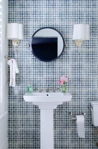 Blue Bathroom with Navy Mirror - Contemporary - Bathroom