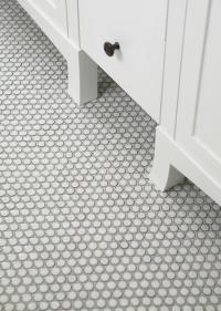 White and Gray Bathroom with Gray Penny Tile Floor ...