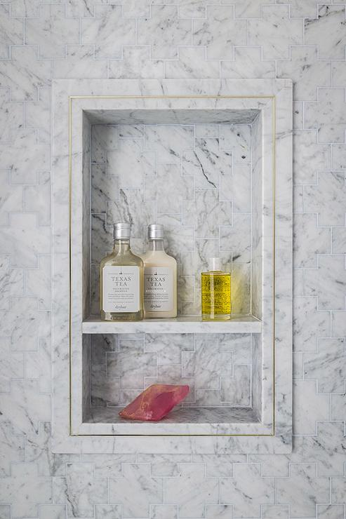 Gray Marble Tile Shower Niche With Shelf Transitional Bathroom