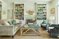 Green and Gray Living Room with Fireplace Built Ins ...