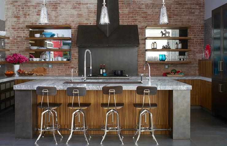 industrial kitchen stools under cabinet lights with vintage architect contemporary