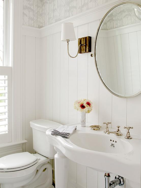 White Cottage Powder Room with Marimekko II Putkinotko