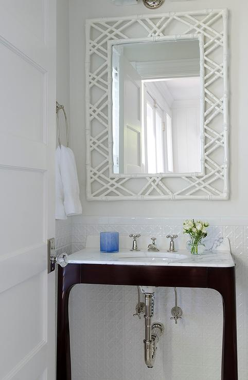 dark brown vanity with white bamboo mirror - transitional - bathroom