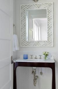 Dark Brown Vanity with White Bamboo Mirror - Transitional ...