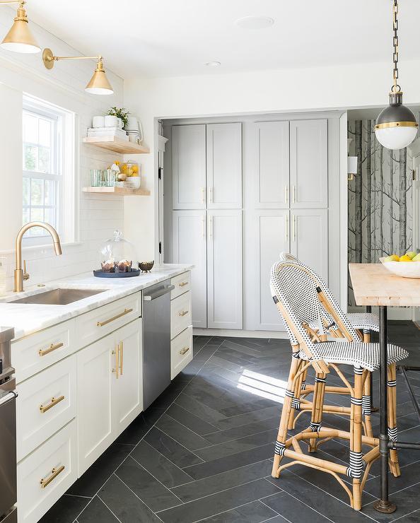black herringbone floor tiles
