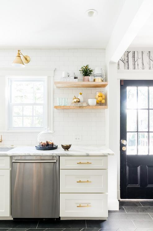 White and Gold KItchen with Stacked Wooden Floating