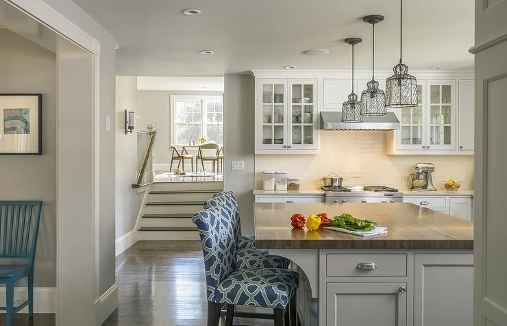 kitchen island with seating blanco silgranit sink blue counter stools design ideas