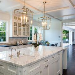 Kitchen Lanterns Arts And Crafts Cabinets Polished Nickel Darlana With Marble Top Island