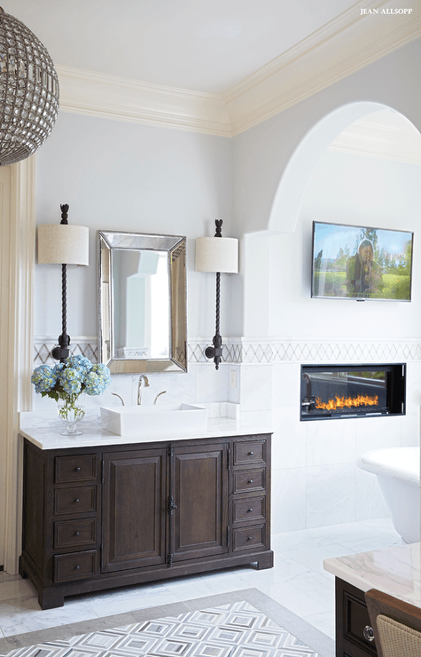 Master Bathroom with Flat panel TV Over Heat and Glo