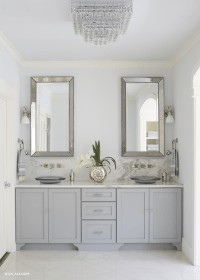 Gray Dual Vanity with Alabama Marble Countertops and