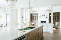 Long Kitchen Island with Sink and Two Gooseneck Faucets ...