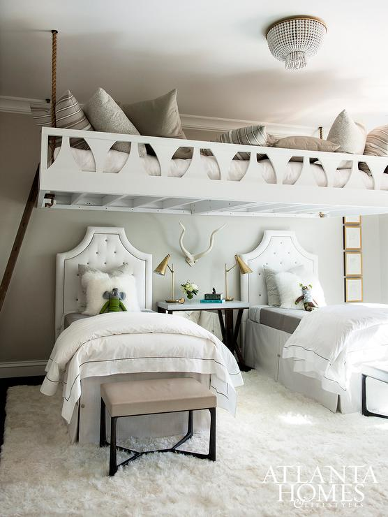Beds Tucked Under Rope Loft Bed  Contemporary  Girls Room