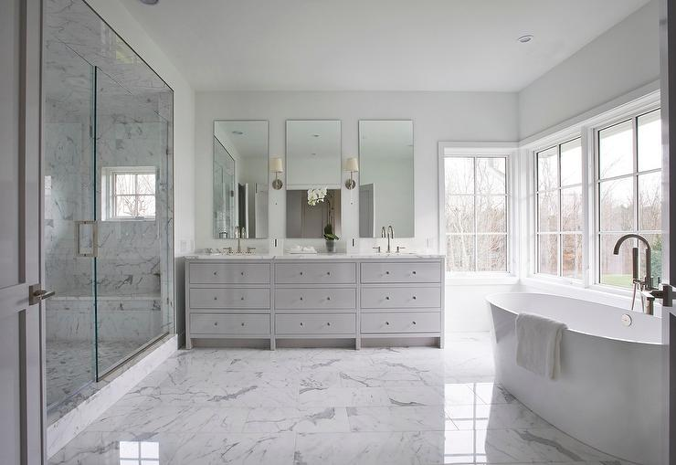 White and Gray Master Bathroom with Gray Dual Vanity  Transitional  Bathroom
