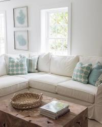 Cottage Living Room with Blue Accents - Cottage - Living Room