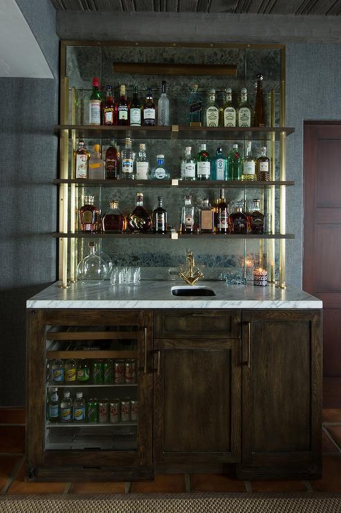 Wet Bar with Shelves on Antique Mirror Backsplash