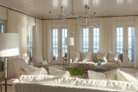 Ivory Coastal Living Room with French Doors - Cottage ...