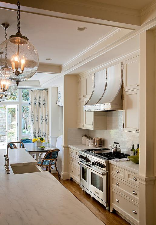 Cream Kitchen Cabinets with French Kitchen Hood