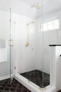 Bathroom Pocket Doors with Brass Hardware - Contemporary ...