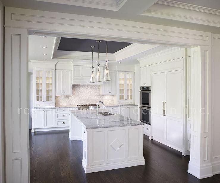 Gray Paneled Kitchen Hood With Mercury Glass Bell Pendants
