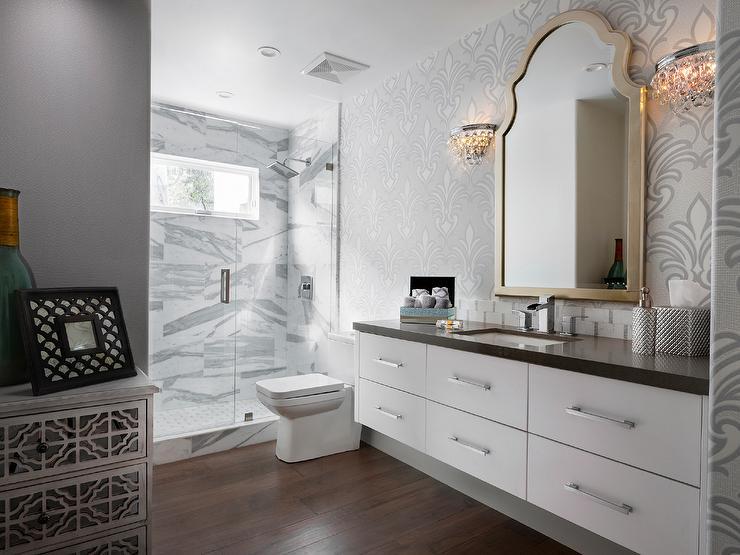 White Floating Vanity with Gray Quartz Countertop Under