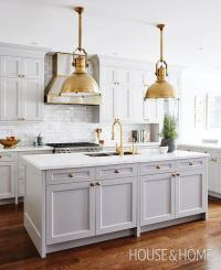 Gray Kitchen Island with Brass Large Country Industrial ...