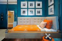 Blue and Orange Kids Bedroom with Hermes Avalon Blanket ...
