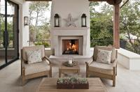 Lakeside Patio with Limestone Fireplace - Cottage - Deck/patio
