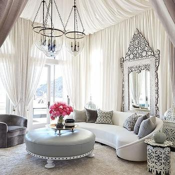 old hollywood living room ideas sofas small rooms clustered lanterns design regency style with drapery panels on ceiling and walls