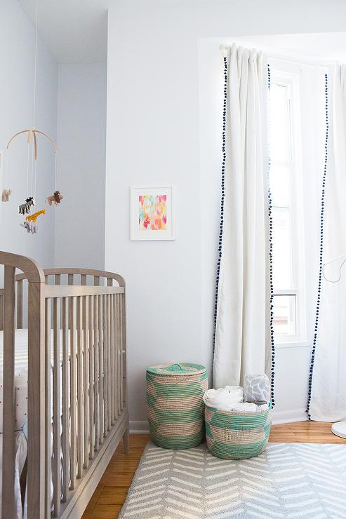 Nursery with Black and White Pom Pom Curtains