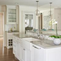 White Kitchen Island with Gray Quartz Countertop and ...