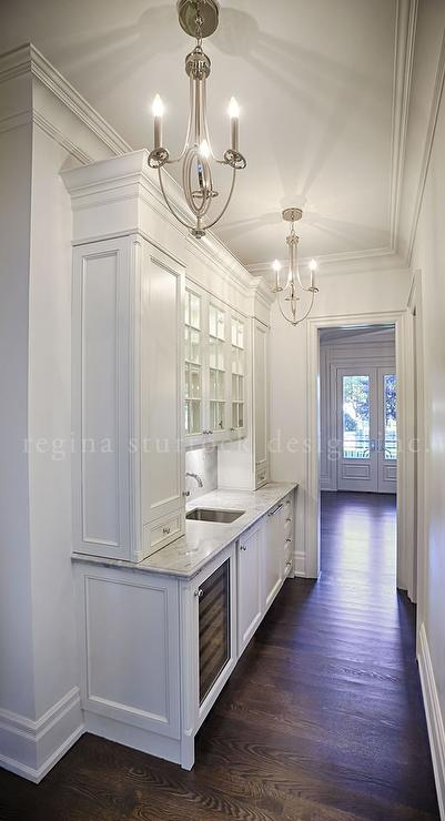 White Narrow Butler Pantry with Two Chandeliers  Transitional  Bathroom