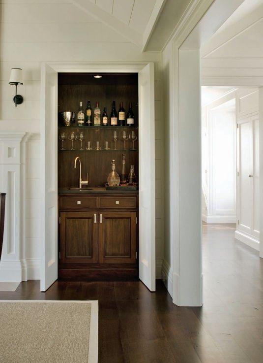 Living Room Hidden Bar with Bi Fold Doors  Transitional  Living Room