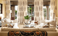 White and Brown Medallion Curtains for a Wall of French ...
