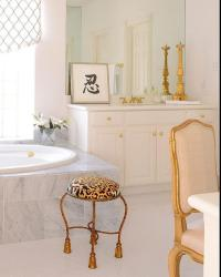 White and Gold Bathroom with Leopard Stool - French - Bathroom