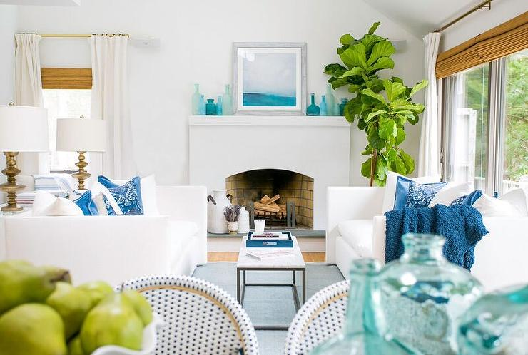 White Coastal Living Room with Blue Accents  Cottage