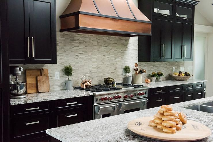 Copper French Hood with Curved Gray Mosaic Tile Backsplash