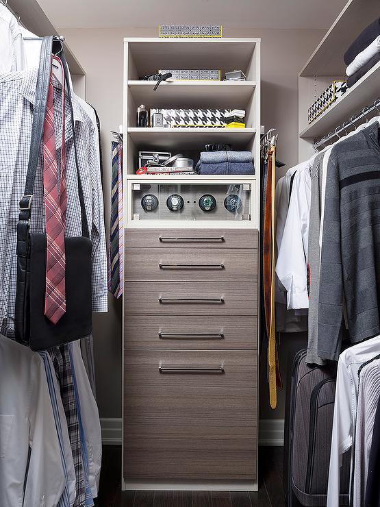 Men Closet Design with Melamine Dresser  Transitional