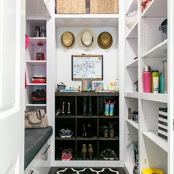 White Mudroom With Board And Batten Trim Transitional