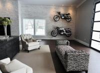 Man Cave with Garage Style Doors - Contemporary - Media Room