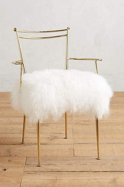 Brass and White Shag Puff Dressing Chair