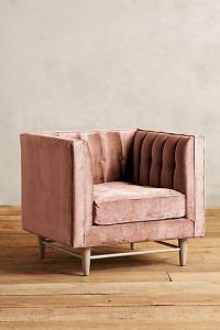 Decenni Getty Tufted Chair with Mirror Nail Head Accents