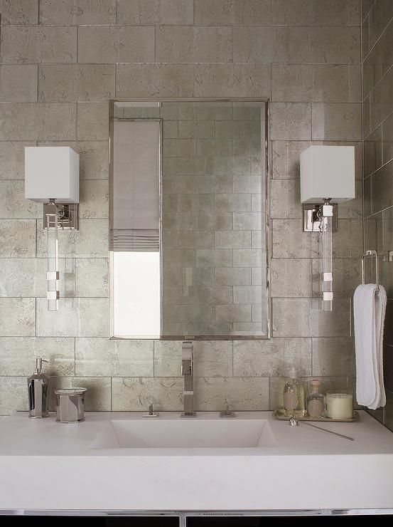 White and Gray Bathroom with Gray Metallic Tiles  Contemporary  Bathroom
