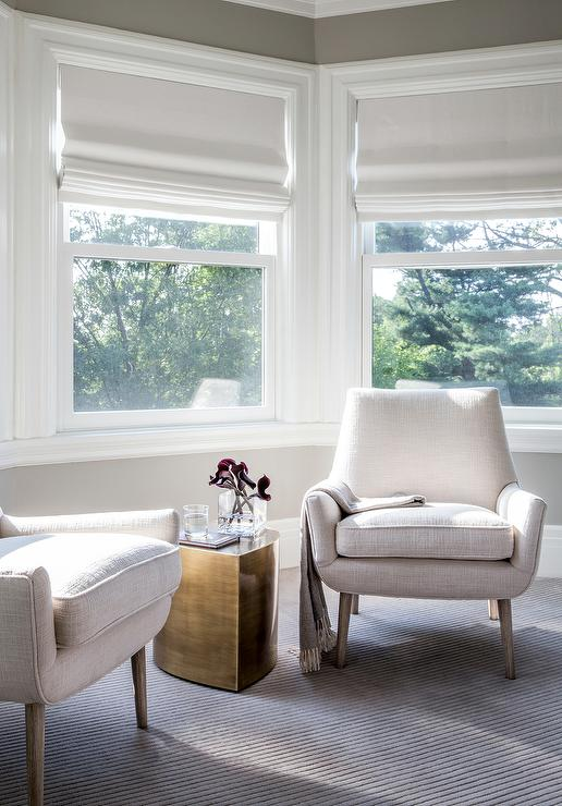 white chairs for bedroom whiskey barrel bay window siiting area with modern and brass accent table