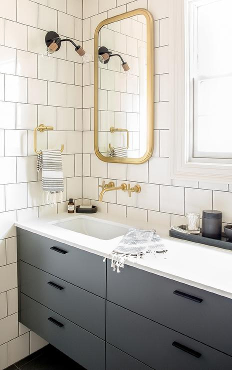 Gray Floating Washstand with Brass Astoria Flat Mirror  Contemporary  Bathroom