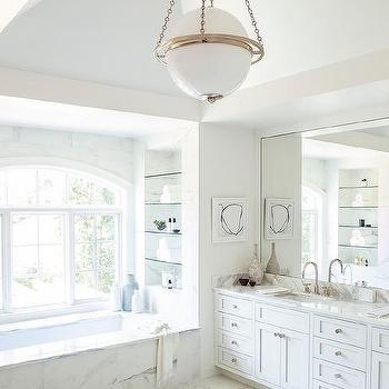 Bathtub with Glass Shelves  Transitional  Bathroom