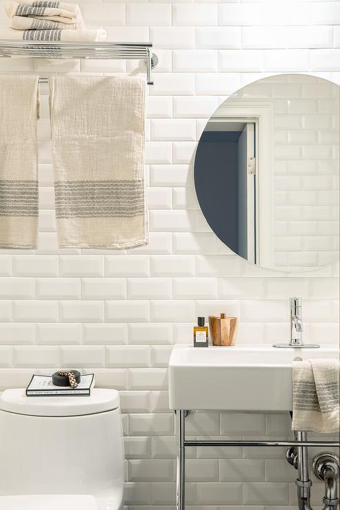 White Bathroom with White Beveled Subway Tiles  Transitional  Bathroom