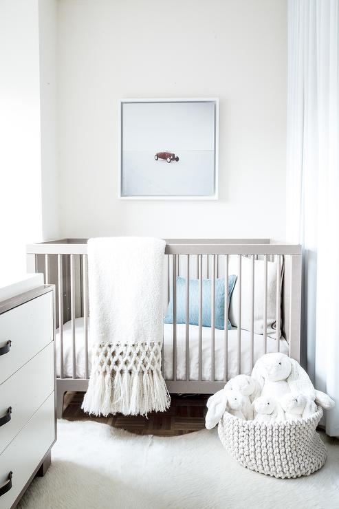 White and Gray Boy Nursery with Blue Accents  Modern