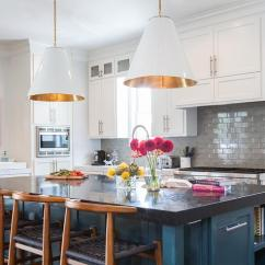 Kitchen Backsplash Wallpaper Ceiling Fan Blue Island With Wishbone Counter Stools ...