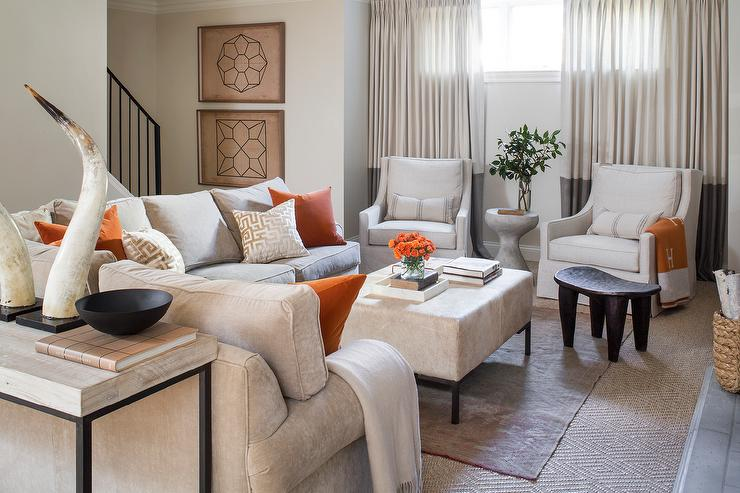 Grey Living Room with Orange Accents