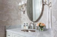 Powder Room Oval Pivot Mirror Design Ideas